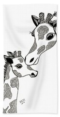 Giraffe Mom And Baby Hand Towel