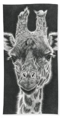 Giraffe Pencil Drawing Bath Towel
