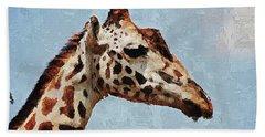 Hand Towel featuring the digital art Giraffe Safari  by PixBreak Art