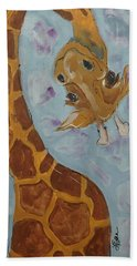 Giraffe Tall Hand Towel by Terri Einer