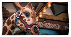 Giraffecarousel Bath Towel by Lisa L Silva