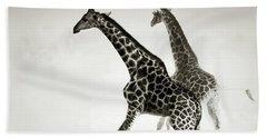 Giraffes Fleeing Hand Towel