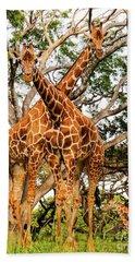 Bath Towel featuring the photograph Giraffe's Looking by D Davila