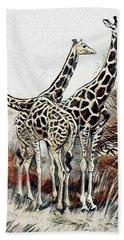 Hand Towel featuring the digital art Giraffes by Pennie McCracken
