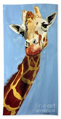 Bath Towel featuring the painting Girard Giraffe by Tom Riggs