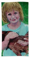 Girl And Chicken Bath Towel by Stan Hamilton
