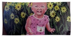 Girl And Daisies Hand Towel by Ruanna Sion Shadd a'Dann'l Yoder