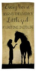 Girl And Horse Silhouette Hand Towel
