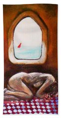 Hand Towel featuring the painting Girl At The Beach by Winsome Gunning