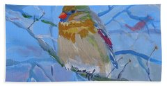 Hand Towel featuring the painting Girl Cardinal by Francine Frank