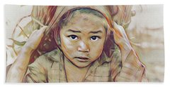 Girl Carrying Firewood In Nepal Bath Towel