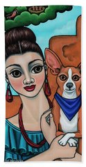 Girl Holding Chihuahua Art Dog Painting  Bath Towel