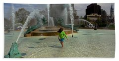 Girl In Fountain Hand Towel
