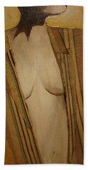 Girl In Man's Shirt Bath Towel