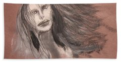 Girl In Mixed Media Bath Towel