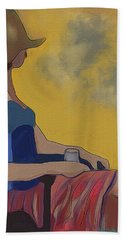 Girl In The Brown Hat Hand Towel