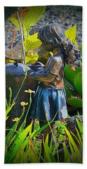 Hand Towel featuring the photograph Girl In The Garden by Lori Seaman