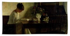 Girl Reading In An Interior  Hand Towel