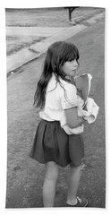 Girl Returns Home From School, 1971 Hand Towel