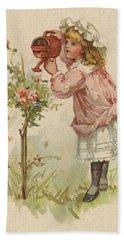Girl Watering Roses Hand Towel
