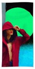 Hand Towel featuring the digital art Girl Wearing A Maroon Hoodie by Serge Averbukh