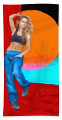 Hand Towel featuring the digital art Girl Wearing Blue Jeans by Serge Averbukh