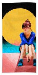 Hand Towel featuring the digital art Girl Wearing Teal Sneakers by Serge Averbukh