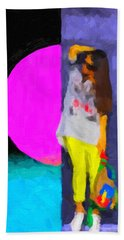 Hand Towel featuring the digital art Girl Wearing Yellow Jeans by Serge Averbukh