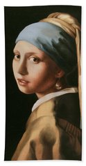 Girl With A Pearl Earring - After Vermeer Bath Towel
