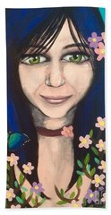 Girl With Apple Blossoms And A Butterfly Bath Towel