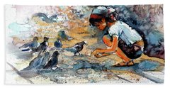 Hand Towel featuring the painting Girl With Birds by Kovacs Anna Brigitta