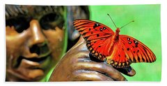 Girl With Butterfly Hand Towel