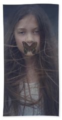 Girl With Butterfly Over Lips Hand Towel
