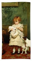 Girl With Dogs Hand Towel