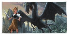 Bath Towel featuring the digital art Girl With Dragon Fantasy by Martin Davey