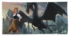 Girl With Dragon Fantasy Hand Towel by Martin Davey