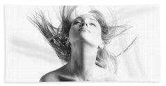 Girl With Flying Blond Hair Hand Towel by Olena Zaskochenko
