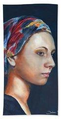 Girl With Headscarf Bath Towel