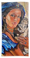 Girl With Lion Cub Bath Towel