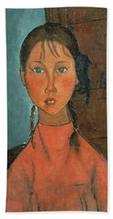 Girl With Pigtails Hand Towel