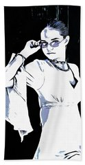 Girl With Sunglasses Hand Towel