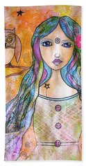 Girl With The Owl  Hand Towel