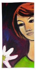 Bath Towel featuring the painting Girl With White Flower by Winsome Gunning