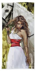 Girl With White Horse Hand Towel