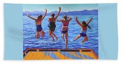 Girls Jumping Hand Towel