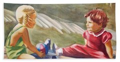 Girls Playing Ball  Hand Towel by Marilyn Jacobson