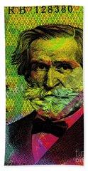 Giuseppe Verdi Portrait Banknote Bath Towel
