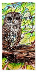 Give A Hoot Hand Towel by Patricia L Davidson
