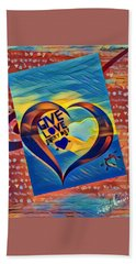 Give Love Bath Towel by Vennie Kocsis