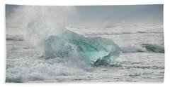 Glacial Iceberg In Beach Surf. Hand Towel